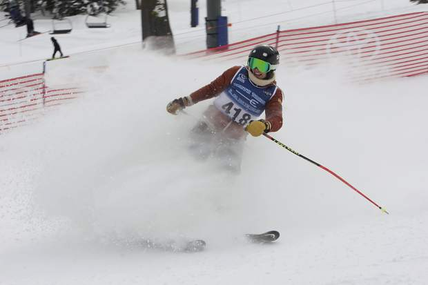 North Tahoe's Aliza Neu comes to a stop after finishing her second run at Alpine Meadows on Tuesday. Neu captured first place as the Lady Lakers swept the podium.