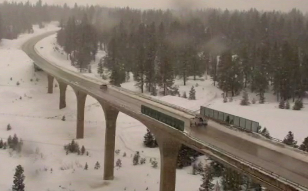 Interstate 80 was closed in both directions going over Donner Summit over night.