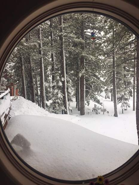 A framed February scene from Tahoe Vista.