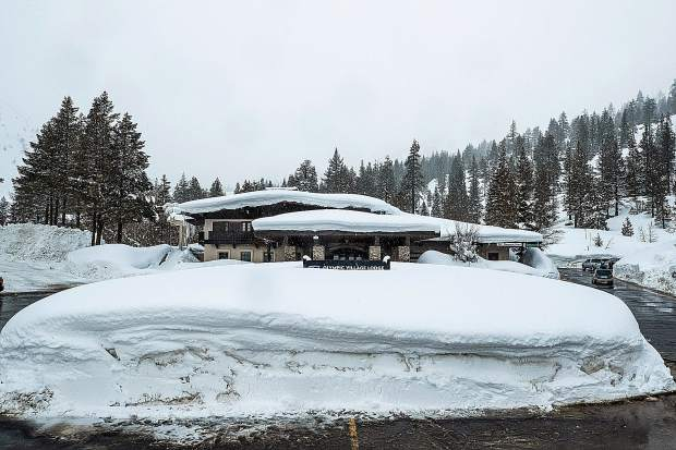 Snow stacks up at Squaw Valley.