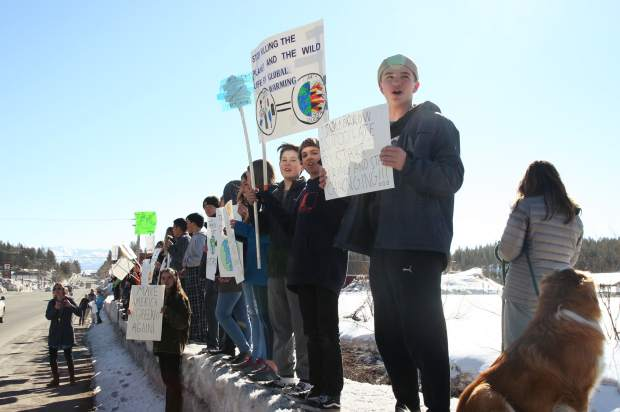 Middle school students at Siera Expeditionary Learning School took part in a global youth climate strike on Friday.