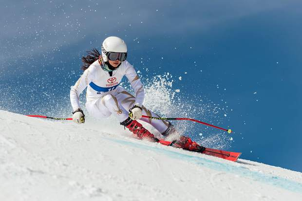 Maya Wong raced to a third-place finish during Sunday's giant slalom event.