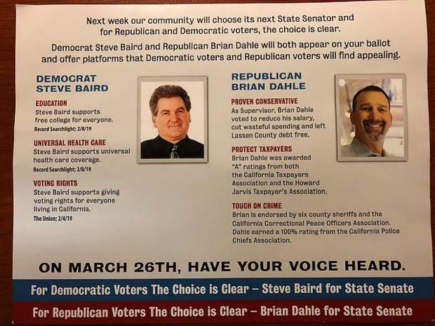 Steve Baird who ran as a Democrat for State Senate, before withdrawing in February, had previously run as a Republican. In his short campaign, Baird listed his Top 10 initiatives as being a guaranteed minimum universal income of $50,000 for all, voting rights for everyone living in California and