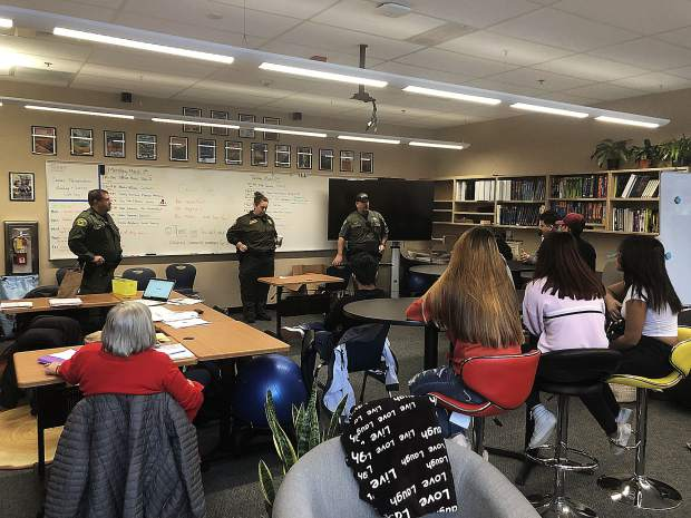Officers from Placer County Sheriff's Office (PCSO) including School Resource Officer Allyson Prero, spoke about their experiences in law enforcement at Career Day at North Tahoe High School.