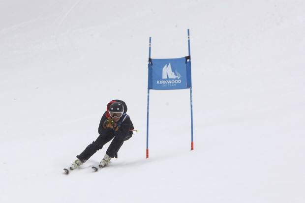 North Tahoe junior Aliza Neu defends last year's giant slalom state championship, claiming gold at Kirkwood Mountain Resort on Tuesday.