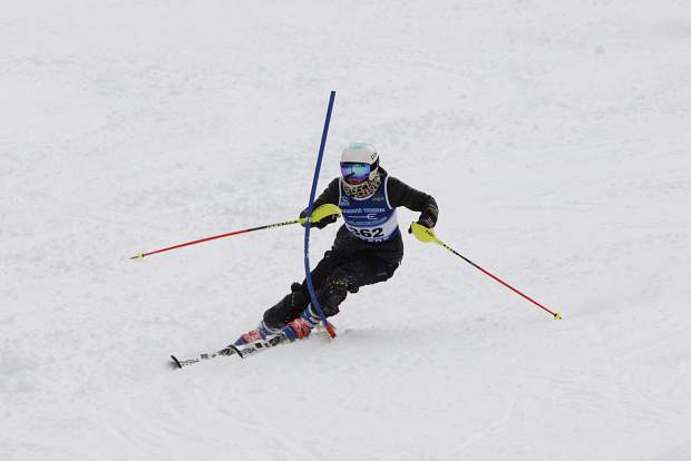 North Tahoe junior Maddie Roberts skis to a first-place finish in slalom at the NIAA state championships on Monday at Sierra-at-Tahoe.