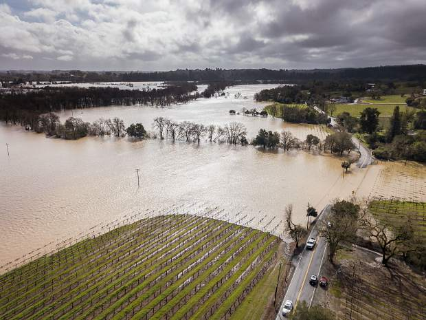 This photo, taken on February 27, 2019, shows the flooding that took place in the Russian River Valley wine appellation not far from Healdsburg, on Westside Road, prime location for renowned pinot noir vineyards.