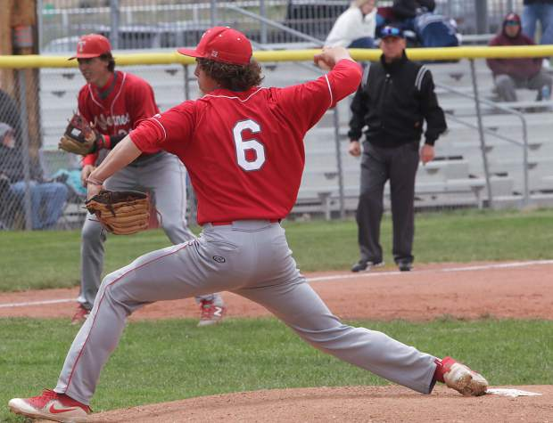 Junior Deacon Mehler fires a pitch toward the plate during last weekend's Northern League tournament.