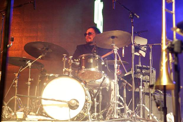 Otis McDonald frontman Joe Bagale showed off his prowess behind a drum set during the band's set at the Truckee Craw Thaw.