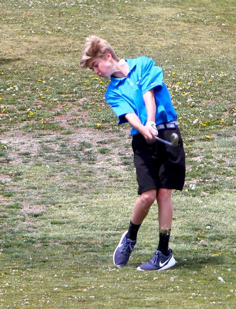 North Tahoe's Ryder Smith takes a swing during Monday's NIAA 2A Northern Boys Golf Championship in Carson City.