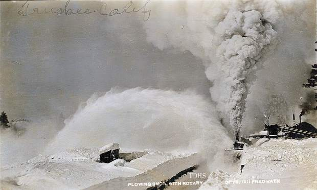 Plowing snow iwth a rotary plow in Truckee circa 1911.