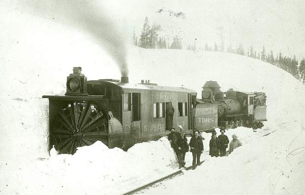 The first rotary snow plow ripped a path through the Sierra near Truckee in 1885.