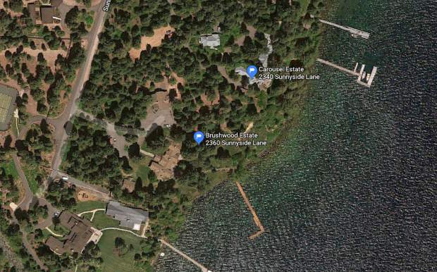 Mark Zuckerberg's compound on Lake Tahoe's West Shore shown from above.