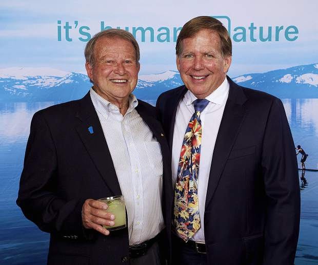Joining 15 past recipients of the Distinguished Community Service Award, Ron Treabess, left (with Gar Woods owner Tom Turner) was recognized for his  long-term commitment of service to the North Lake Tahoe community.