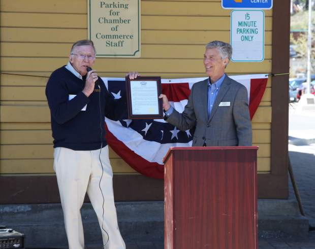 A proclamation from the Town of Truckee presented by Mayor David Tirman granted the hisotorical societies the use of space for a new museum in the Truckee Train Depot.