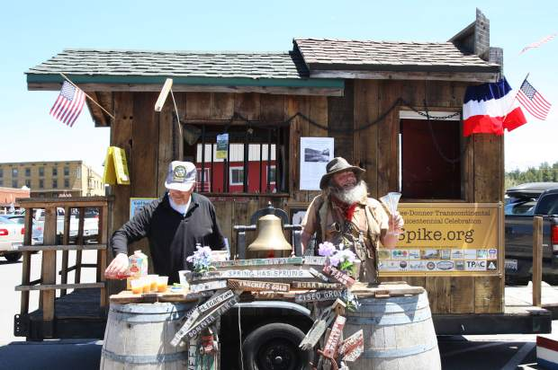 Truckee residents gathered outside the town's train depot to celebrate the completion of the Transcontinental railroad on May 10, the 150th anniversary date.