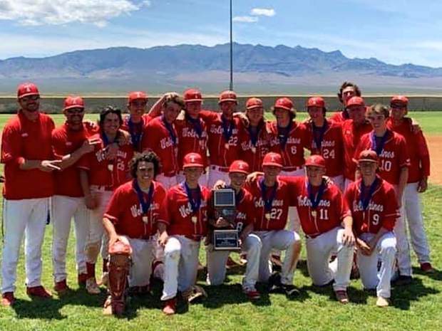 The Truckee baseball team poses after repeating as Class 3A state champions.