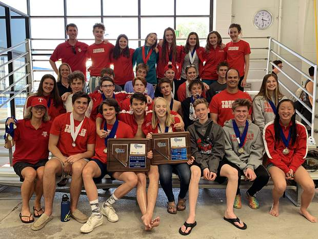 The Truckee boys and girls' swim team poses after sweeping the Northern League titles for a third straight season.