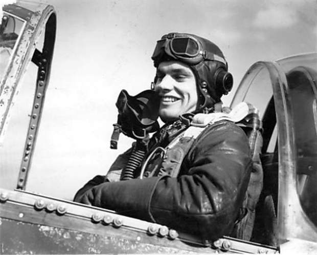 Bud Anderson, as just a young man, inside his P-51 Mustang Old Crow.