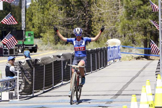 FILE — Local athlete Katerina Nash celebrates winning the 2019 Truckee Dirt Fondo.