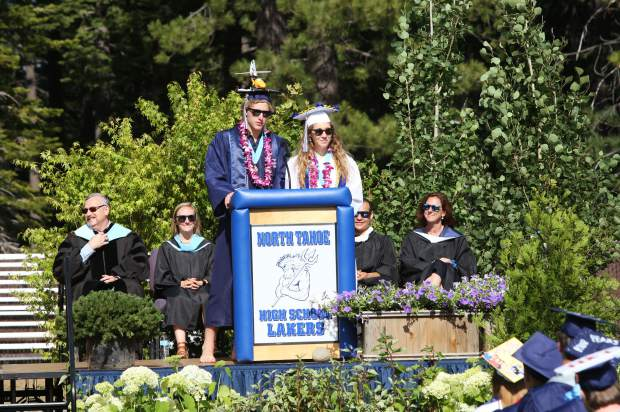 Wyatt Johannsson and Myla Kahn deliver the commencement address.