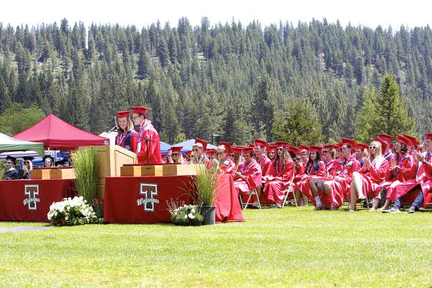 Valedictorians Ryleigh Hogland and Brian Wolfe give their address.
