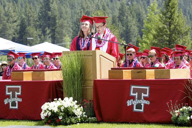 Valedictorians Ryleigh Hogland and Brian Wolfe speak to the crowd and class of 2019 during Truckee's graduation on Saturday, June 15.
