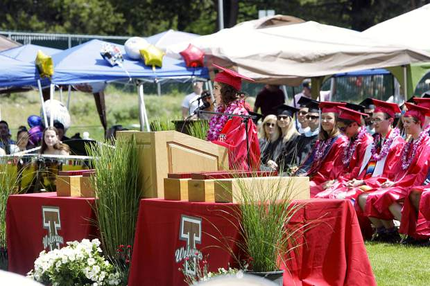 Ariana Urena welcomes the audience to start Truckee's 2019 graduation ceremony.