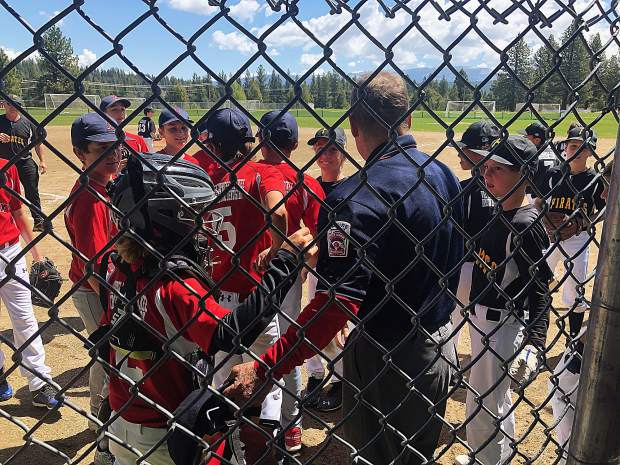 "At the Truckee Little League Red Sox v. Pirates game June 2, the kids sang ""happy birthday"" to the umpire at the fifth inning stretch. Thanks to all the Truckee Little League Volunteers."