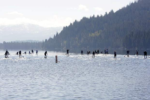 Paddlers take off from Donner Lake's West End Beach on Saturday, June 1, for the first race of the season.