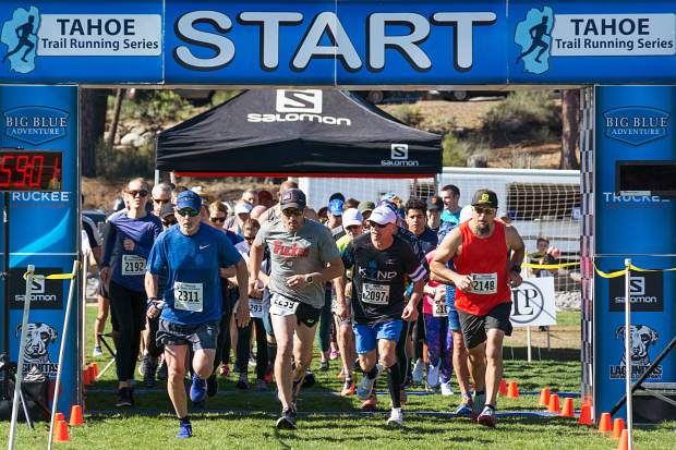 (From left) Steve Taylor, of South Tahoe, Robert McClendon, of Truckee, David Barrano, of South Tahoe, and Steve Buelna, of Truckee take off from the start line of Sunday's 10-kilometer race. Visit LefrakPhotography.com for more race photos.