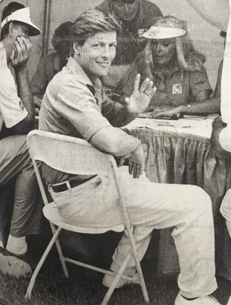 Actor/singer Jack Wagner flashes a smile at the inaugural celebrity golf tournament at Lake Tahoe in 1990.