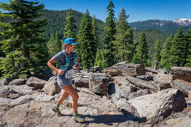 Erica Sonnenberg, of Carnelian Ba,y runs on the Big Chief Trail roughly 19 miles from the start of the race at Northstar. For more race photos, visit LefrakPhotography.com.