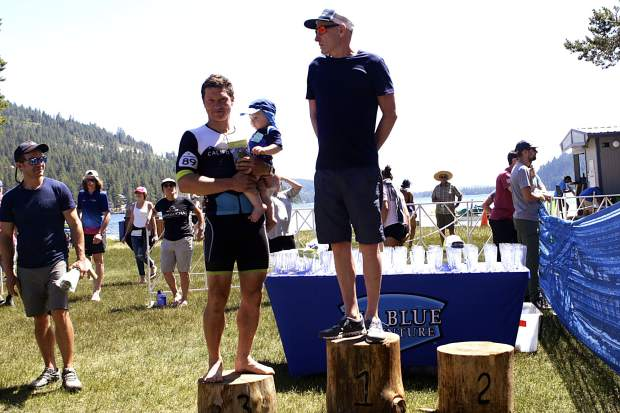 Donatas Ereminas (left) stands next to longtime Donner Lake Triathlon competitor and head coach of the University of Nevada, Reno Triathlon Club Scott Young.