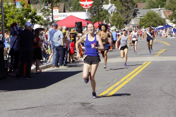 Truckee's Leigh Moffett races to a third straight win at the Firecracker Mile.