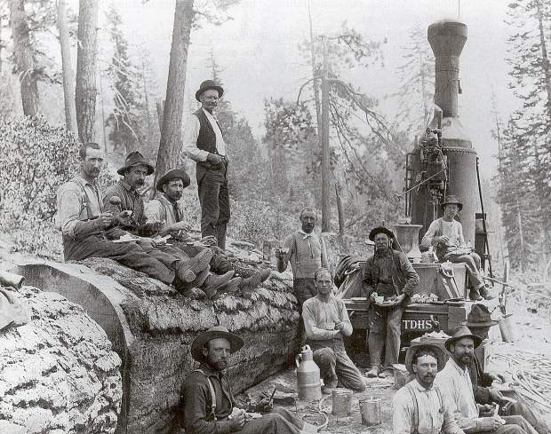 "To the lumbermen of the late 1800s, like these here with a steam donkey,   Sugar pine was as good as gold and a new ""timber gold rush"" began. The arrival of the transcontinental railroads enabled the economical shipping of the wood to markets in the United States and abroad."