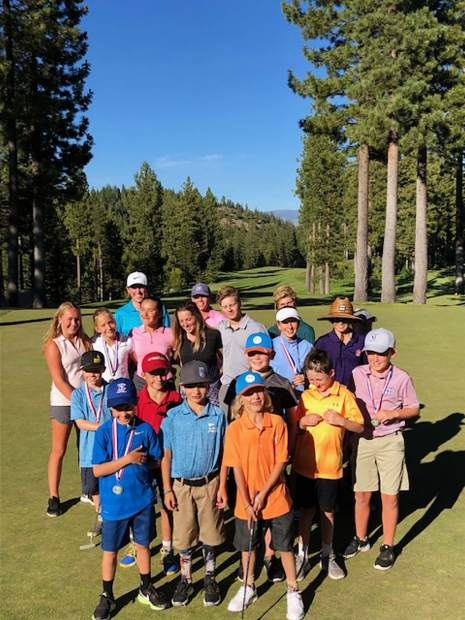 Youngsters from the Truckee Tahoe Junior Golf Tour pose following their round on Wednesday, July 10, at Coyote Moon Golf Course.