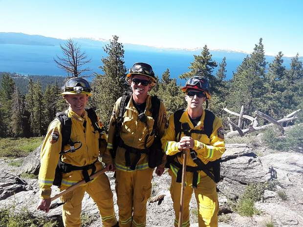 From left to right: Firefighter Ross Muzychenko, Firefighter Chris Hansen, and Fire Captain Chris John of CAL FIRE Engine 2385, based out of the CAL FIRE Carnelian Bay Station. They were out doing physical training and area familiarization.