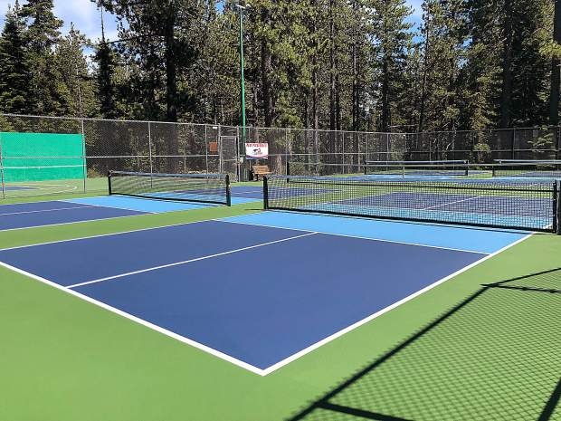 One of the two tennis courts was converted to four permanent pickleball courts and striping of temporary pickleball courts was added to the remaining permanent tennis court.