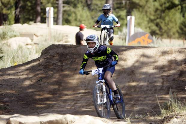 Collegiate mountain biker Sumi Yuki rides to a first-place finish at Truckee Bike Park on Saturday, July 27.