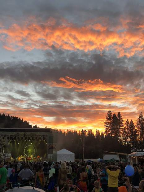 A magnificent sunset provided a spectacular backdrop for the String Cheese Incident as they headline High Sierra Music Festival in Quincy, Ca., Friday, July 6.