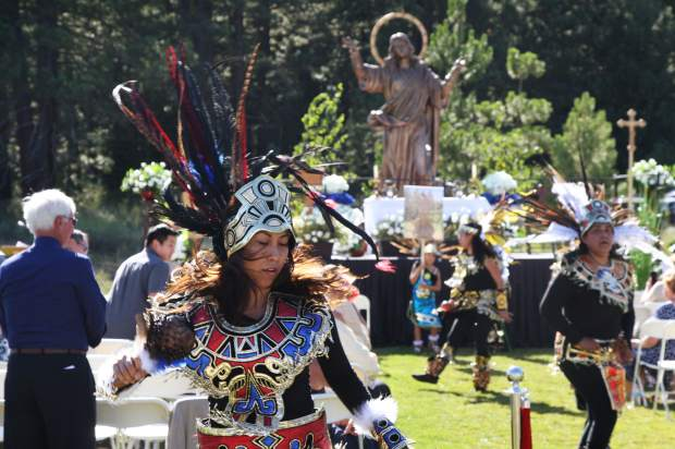 The celebration began with a traditional Aztec dance performed by volunteers from the Saint Francis of Assisi Catholic church in Incline Village.