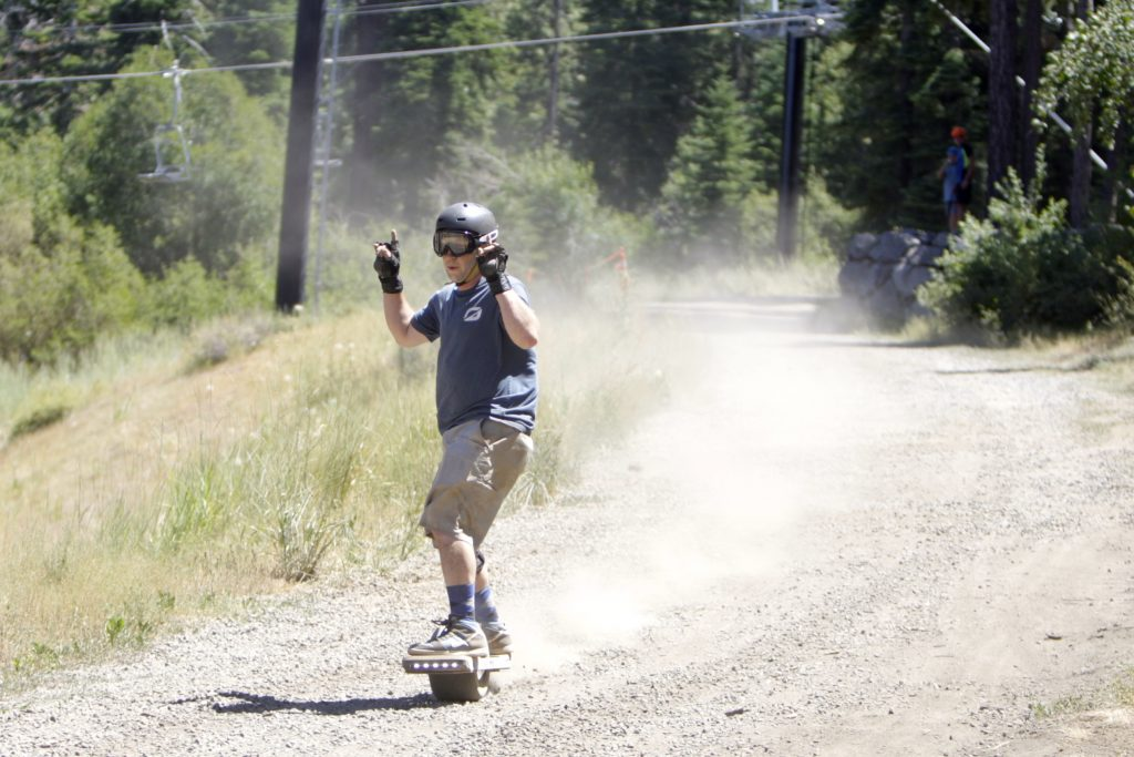 South Tahoe's Dave Stewart crosses the finish line during the quarterfinals of the Race for the Rail event at Northstar on Saturday, Aug. 3.