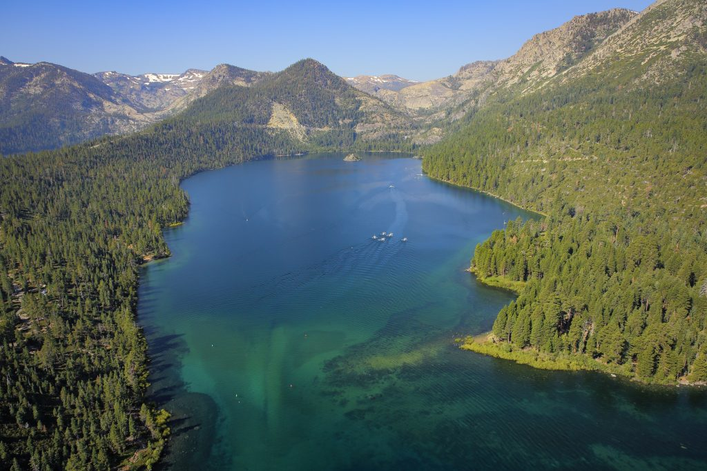 Emerald Bay is shown in the above photo.