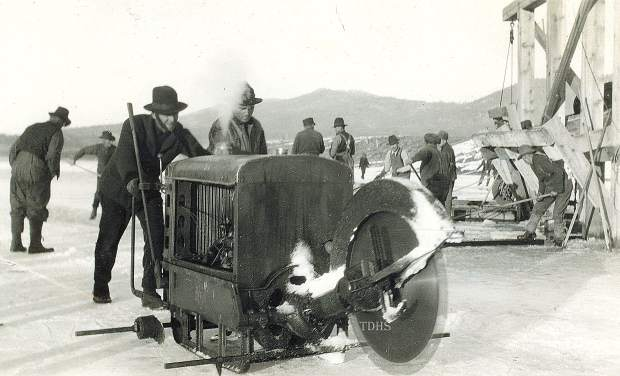A gas-powered saw was used to cut ice into blocks at Boca.