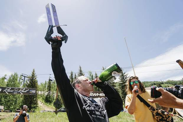 South Tahoe rider Dave Stewart celebrates winning last year's Race for the Rail competition. Stewart will defend his title this weekend at Northstar California Resort.