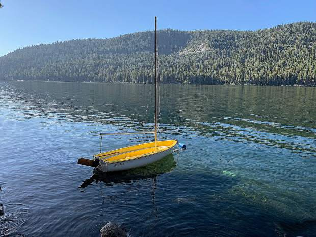Yellow boat on Donner Lake