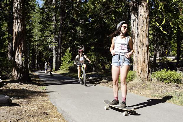 Dozens of skaters cruise the paved paths along Tahoe's West Shore as part of the 15th annual Skate the Lake fundraiser.