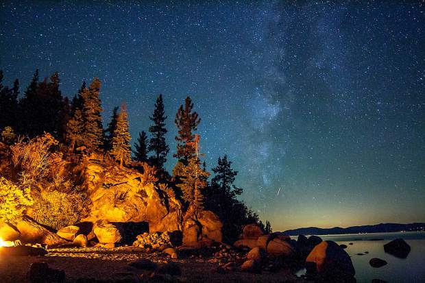 The stars are might brighter above Lake Tahoe, due to minimal light pollution.