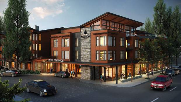 Shown is a rendering of the Tahoe City Lodge.